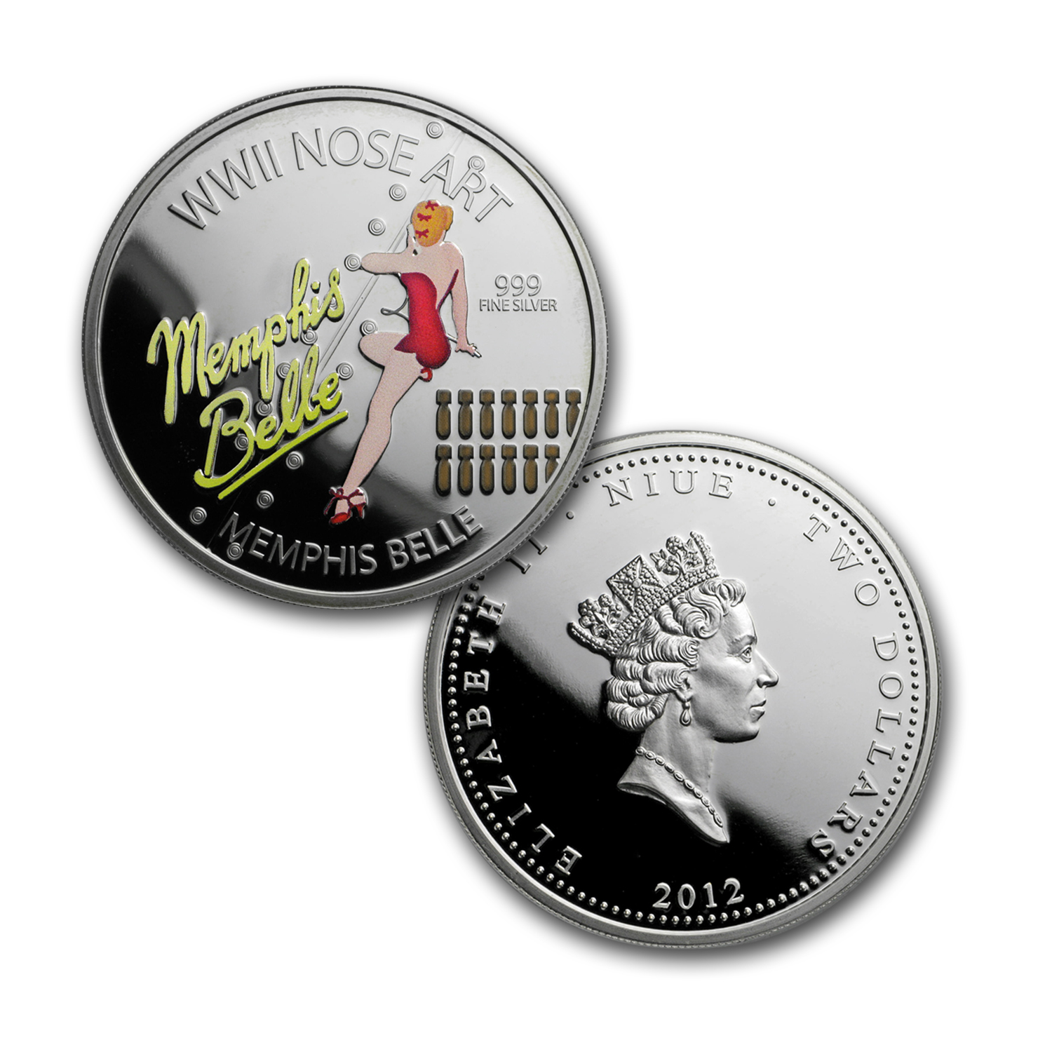 2012 Niue 3x 1 oz Silver $2 WWII Nose Art Proof Set
